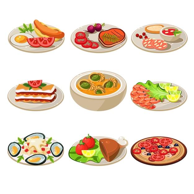 Set food icons europäisches mittagessen Premium Vektoren