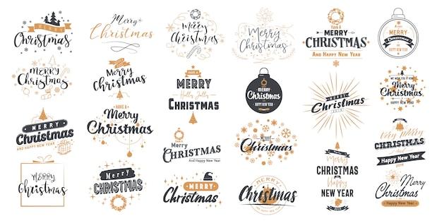 Set frohe weihnachten. frohes neues jahr mit typografie-design. Premium Vektoren