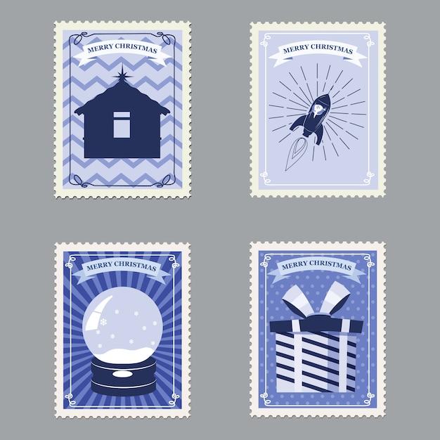 Set frohe weihnachten retro briefmarken mit rakete, geschenken, hütte und schneekugel. Premium Vektoren
