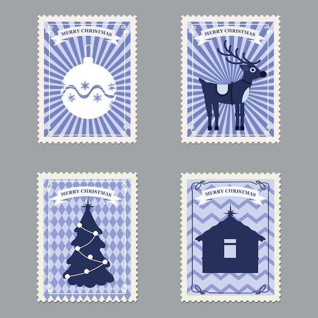 Set frohe weihnachten retro-briefmarken mit weihnachtsbaum, geschenken, hirsch. Premium Vektoren