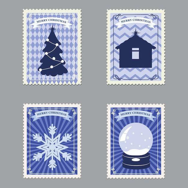 Set frohe weihnachten retro briefmarken mit weihnachtsbaum Premium Vektoren