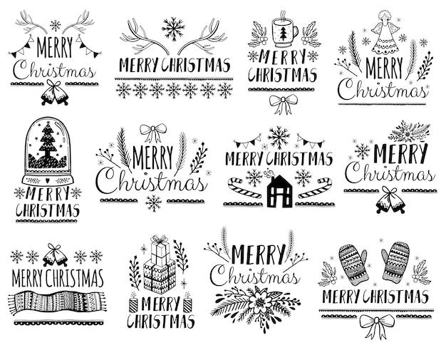 Set frohe weihnachten schriftzug für grußkarten Premium Vektoren