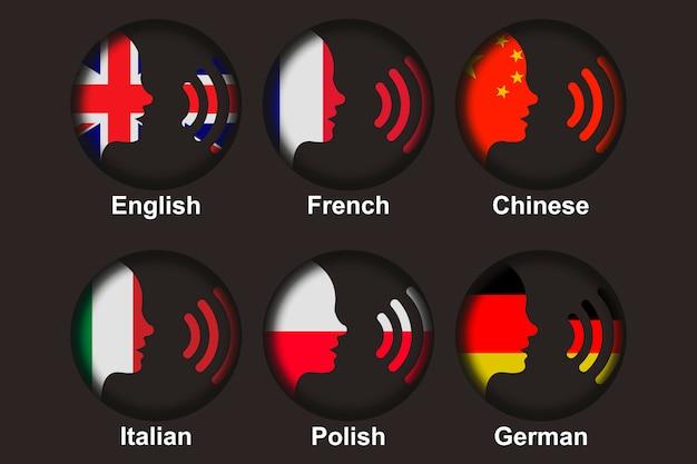 Set für fremdsprachenkonversation Premium Vektoren