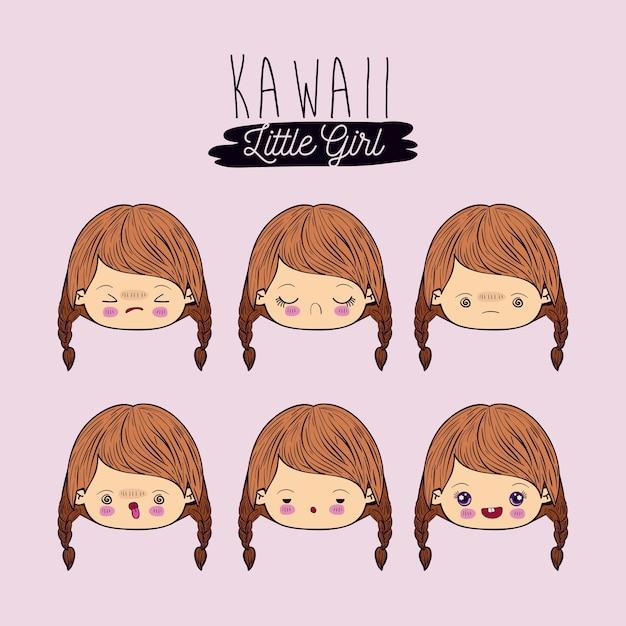 Set für sechs gesichtsausdruck kawaii kleines mädchen Premium Vektoren