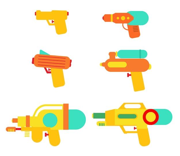 Set für wasserpistolen Premium Vektoren