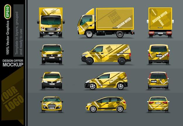 Set gelbe autos in baumposition. Premium Vektoren