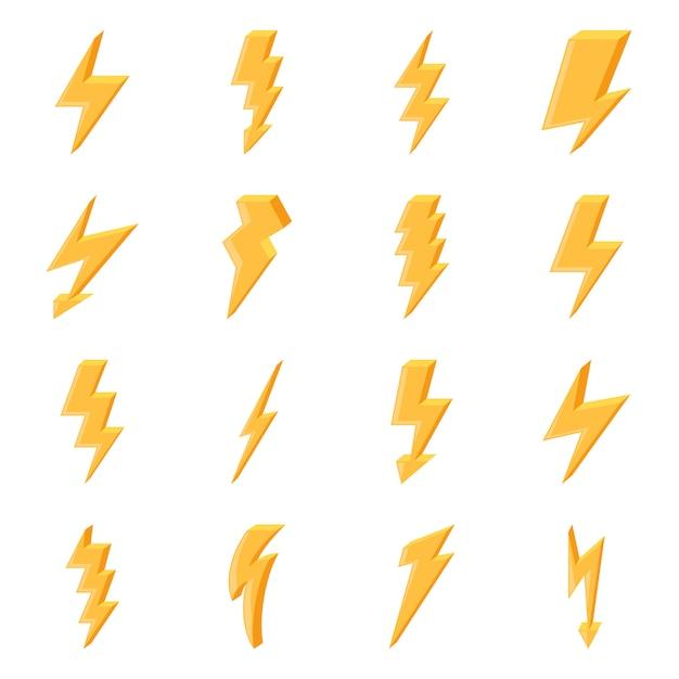 Set gelbe blitzikonen Premium Vektoren