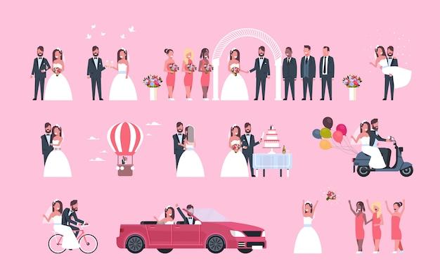 Set gerade verheirateter mann frau zusammen verschiedene konzepte sammlung romantisches paar braut und bräutigam in liebe hochzeitstag feier in voller länge horizontal Premium Vektoren