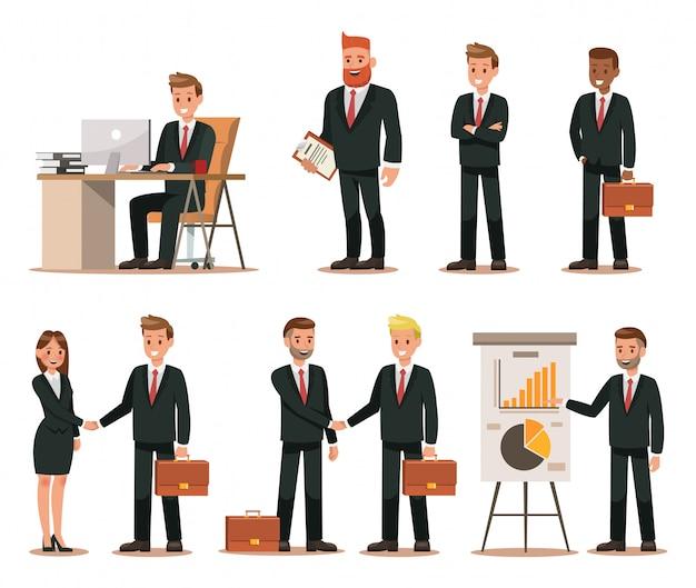 Set geschäftszeichen, die im büro arbeiten Premium Vektoren