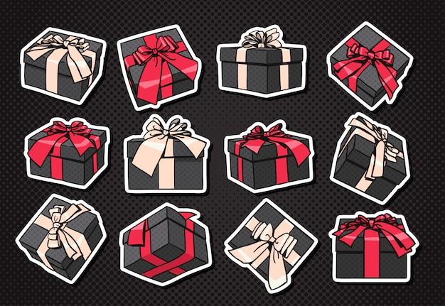 Set geschenkboxen-ikone mit bogen und band auf schwarzem hintergrund Premium Vektoren