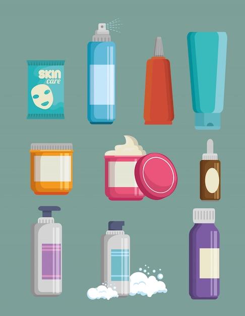 Set gesichtscremes produkte Kostenlosen Vektoren