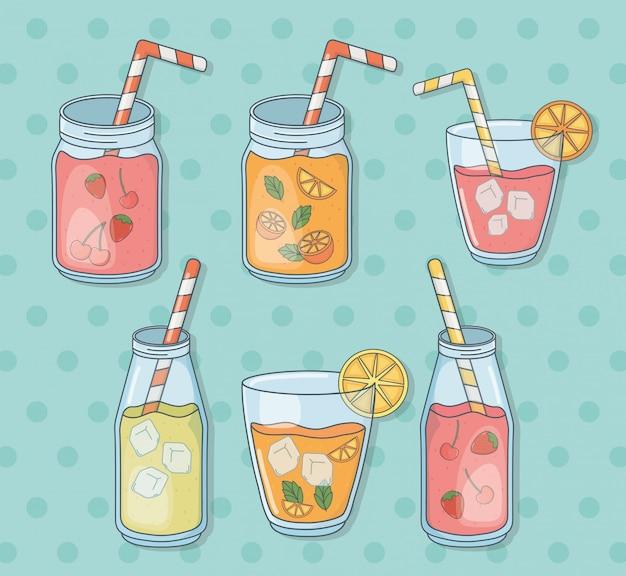 Set glasbehälter mit fruchtsäften und strohen Premium Vektoren
