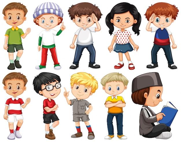 Set glückliche kinder im unterschiedlichen kostüm Kostenlosen Vektoren