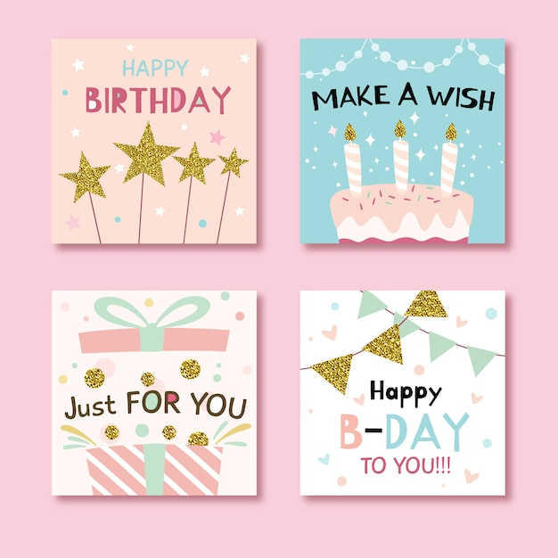 Set glückwunschkarten mit bunten partyelementen Premium Vektoren
