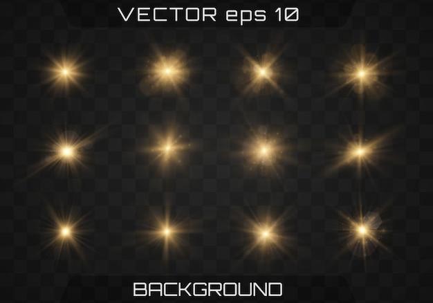 Set gold helle schöne sterne mit glüheneffekt Premium Vektoren