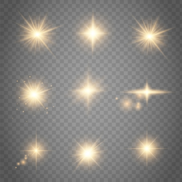Set goldene glühende lichteffekte, die auf transparentem bestehen Premium Vektoren