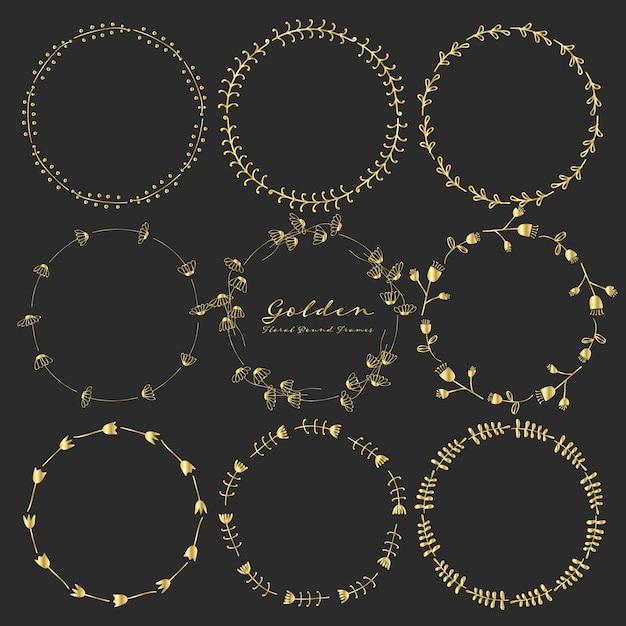 Set goldene runde mit blumenrahmen für dekoration. Premium Vektoren