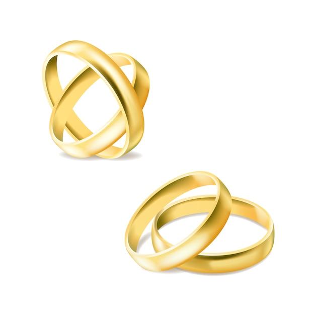 Set goldverlobungsringe getrennt Premium Vektoren