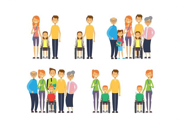 Set großeltern eltern kinder enkelkinder rollstuhl, multi-generationen-familie, Premium Vektoren