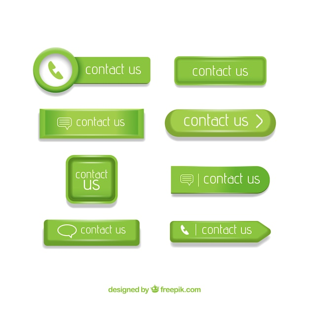 Set grüne kontaktknöpfe Kostenlosen Vektoren