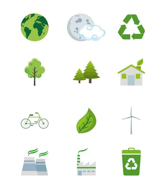 Set grüne weltelemente der ökologie Premium Vektoren