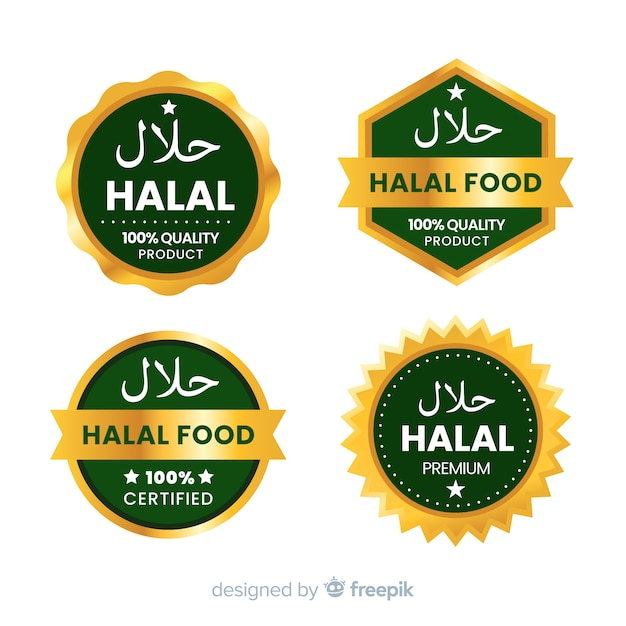 Set halal nahrungsmittelabzeichen Kostenlosen Vektoren