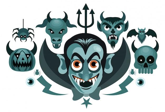 Set halloween-gespenstische vektor-illustration Premium Vektoren
