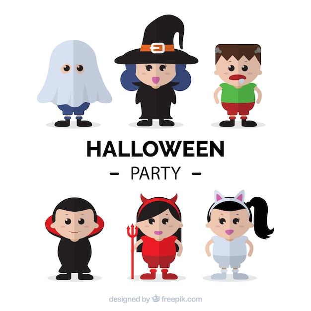 Set Halloween-Party gekleidet Zeichen | Download der kostenlosen Vektor