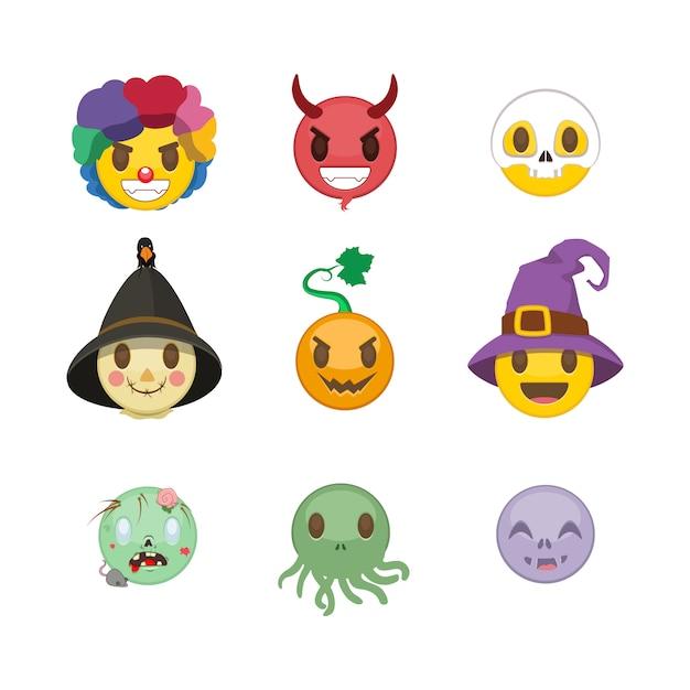 Set halloween-smileys Premium Vektoren