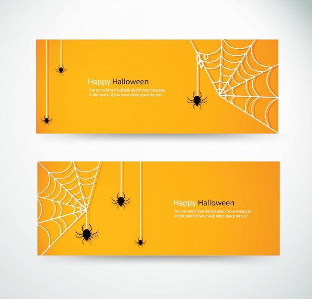 Set halloween spinne und wab banner Premium Vektoren