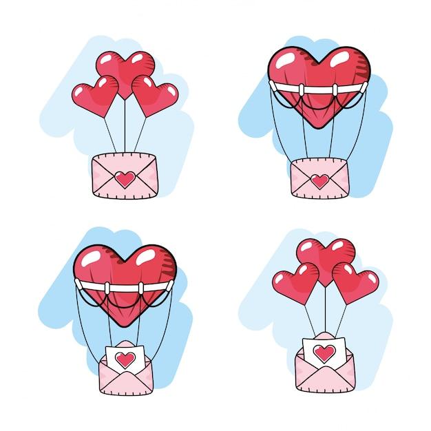 Set herzen ballons mit liebeskarten Premium Vektoren
