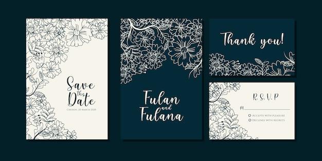Set hochzeit einladungskarte mit abstrakten hand gezeichneten doodle botanischen kranz blumen hintergrundvorlage Premium Vektoren