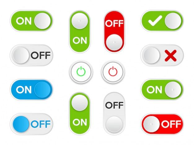 Set icon on und off kippschalter-taste. Premium Vektoren