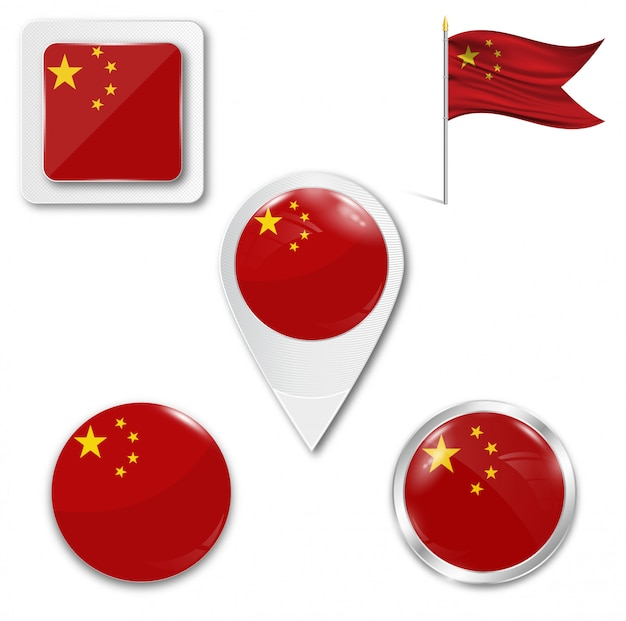 Set icons nationalflagge von china Premium Vektoren