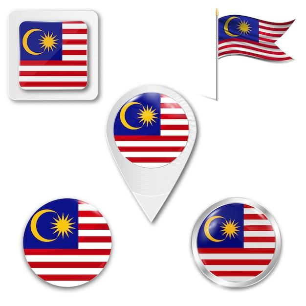 Set icons nationalflagge von malaysia Premium Vektoren