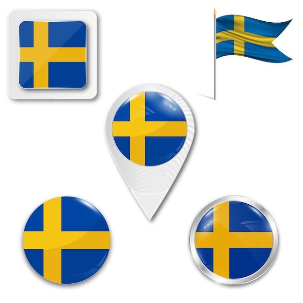 Set icons nationalflagge von schweden Premium Vektoren