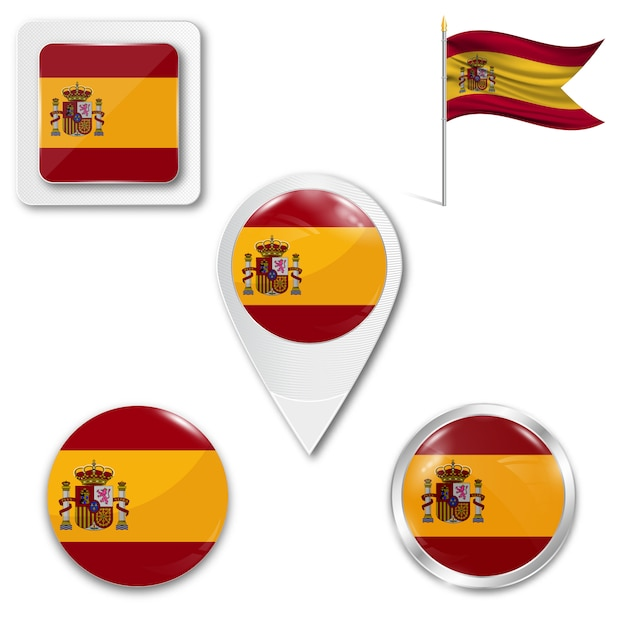 Set icons nationalflagge von spanien Premium Vektoren