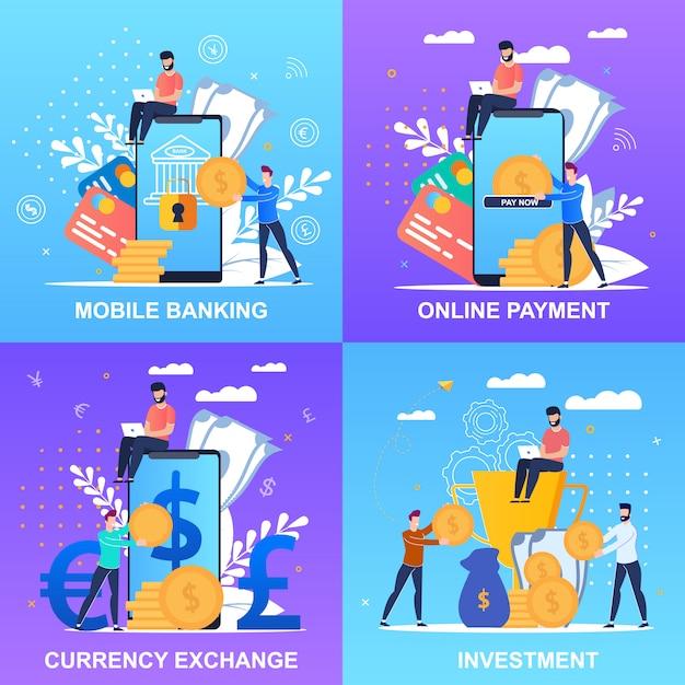 Set inschrift mobile banking online payment banner festgelegt Premium Vektoren