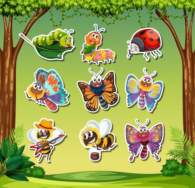 Set insektenaufkleber Premium Vektoren