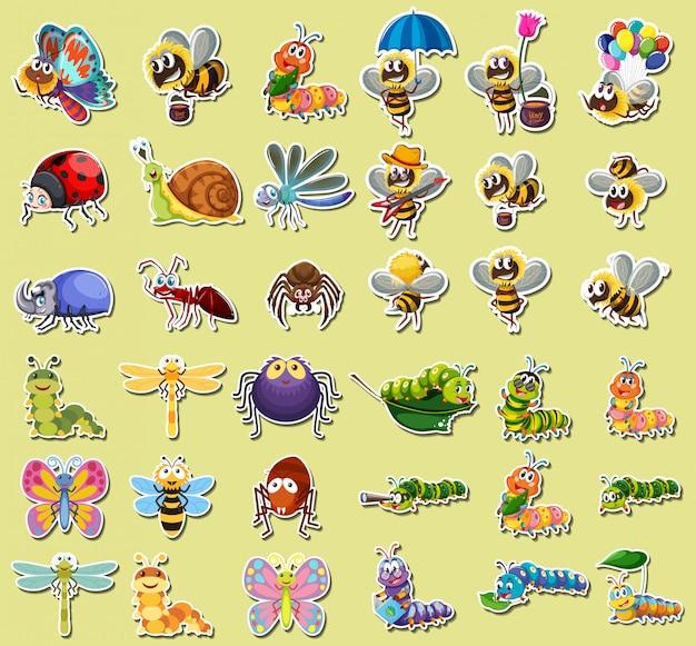 Set insektenaufkleber Kostenlosen Vektoren