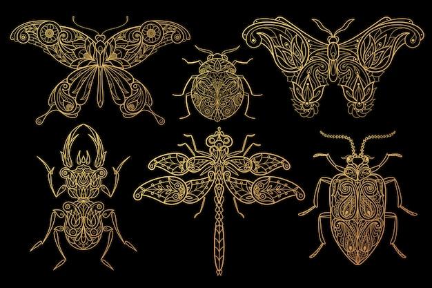 Set insektenschmetterlinge, libellen, käfer Premium Vektoren