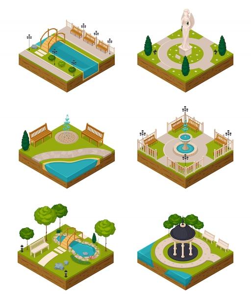 Set isometrische landschaftsdesign Kostenlosen Vektoren