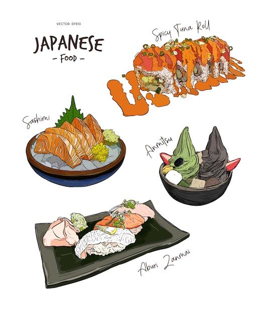 Set japanisches essen Premium Vektoren