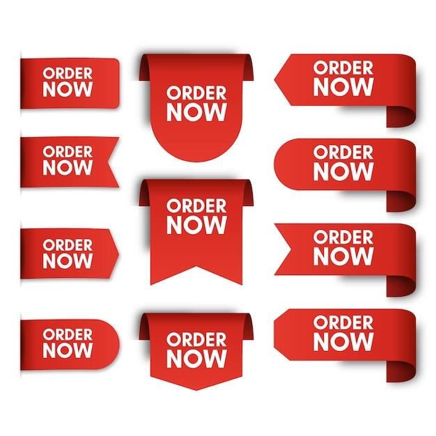 Set jetzt bestellen promo-etiketten Premium Vektoren