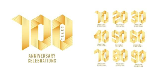 Set jubiläums-logo-design-vorlage. Premium Vektoren