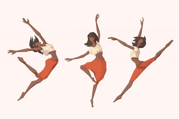 Set junge dansing frauen Premium Vektoren