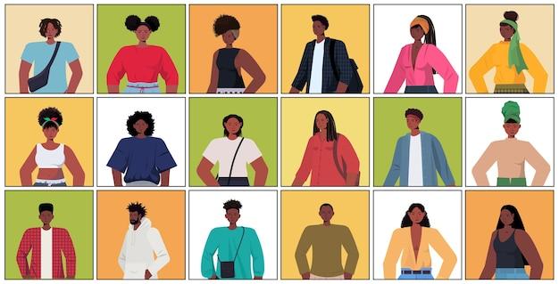 Set junge frauen männer in lässigen trendigen kleidern afroamerikaner männlich weiblich comicfiguren sammlung porträt horizontal Premium Vektoren