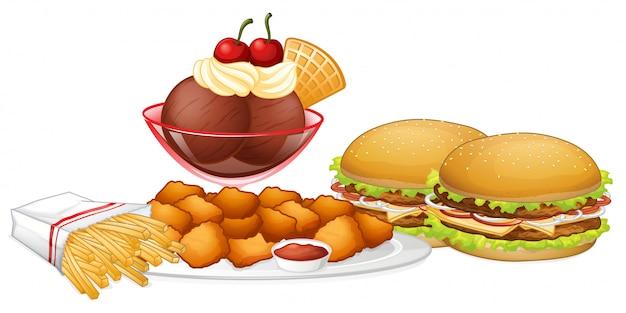 Set junk food Kostenlosen Vektoren