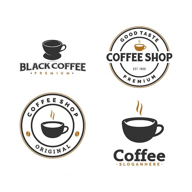 Set kaffee-logo Premium Vektoren