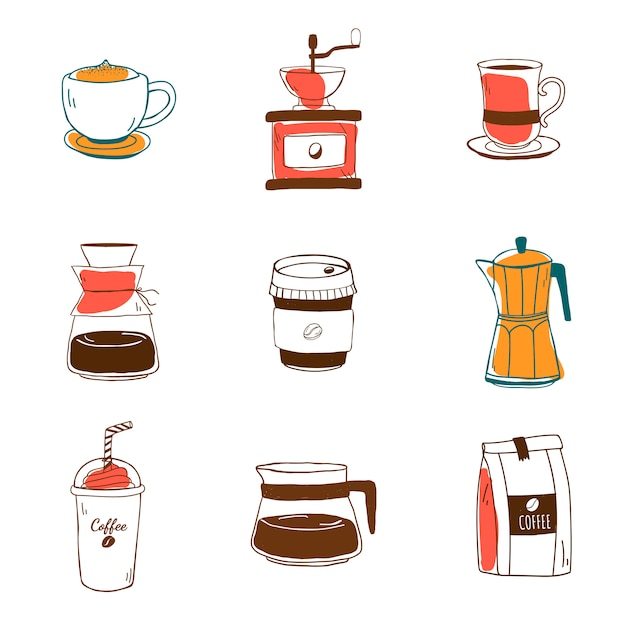 Set kaffeestubeikonenvektor Kostenlosen Vektoren